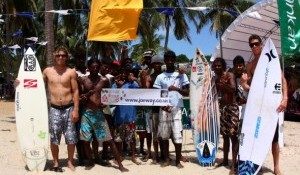 Surfers take Joe's banner to Sri Lanka