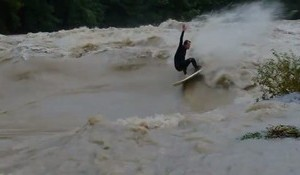 Flooding in Switzerand Generates a Ripable Riverwave