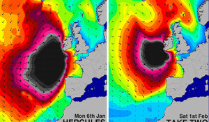 Another bomb storm lines up to create huge Euro swell